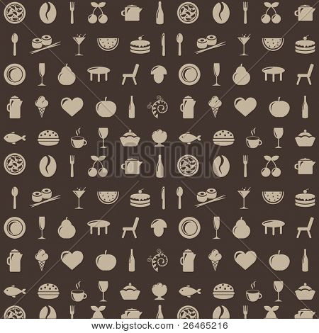 Restaurant Background With Icons, Vector Illustration