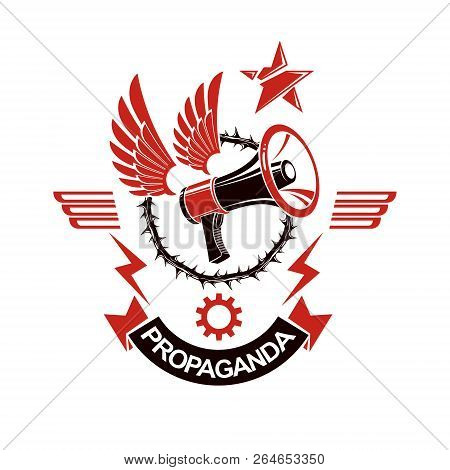Vector Winged Logo Composed With Loudspeaker Equipment Surrounded By Thorn Of Crowns. Public Relatio