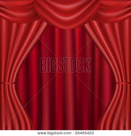 Theater Velvet Curtain With Lights And Shadows, Vector Illustration poster
