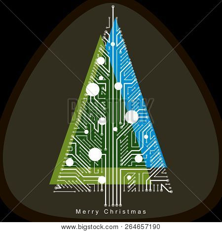 Vector Illustration Of Futuristic Evergreen Christmas Tree, Technology And Science Conceptual Design