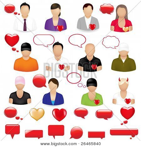 Icons Of People With Design Elements On  Theme Valentine's day, Isolated On White Background, Vector Illustration