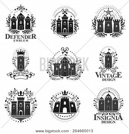 Ancient Castles Emblems Set. Heraldic Coat Of Arms Decorative Logo Isolated Vector Illustrations Col