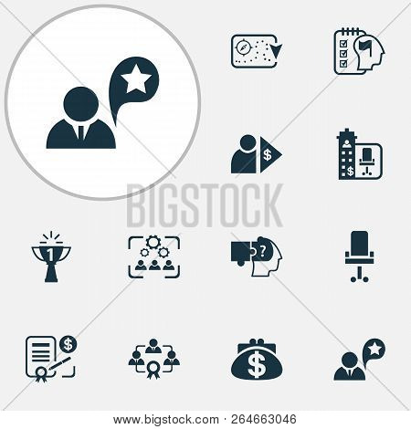 Business Management Icons Set With Job Performance, Benefit, Success And Other Capitalist Elements.