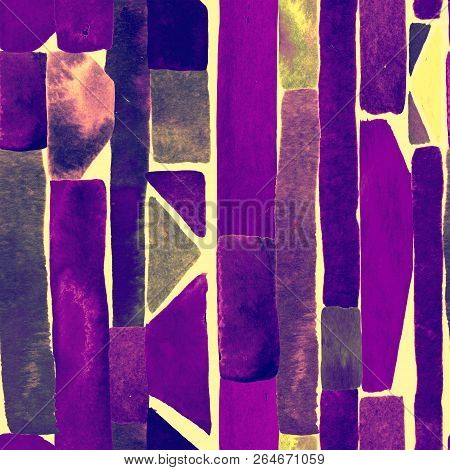 Bauhaus Pattern. Ultraviolet Geometric Watercolor Abstract Seamless Print. Watercolour Stripe Backgr