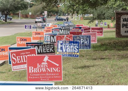 Dense Of Yard Signs For Primary, Midterm Election In America