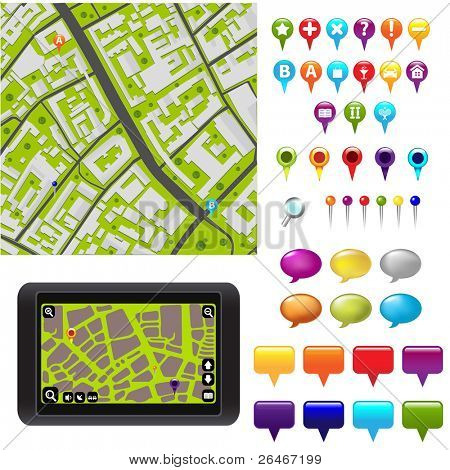 City Map With GPS Icons, Vector Illustration
