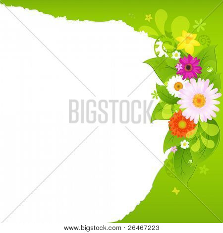 Fragmentary Paper With Flowers, Vector Illustration