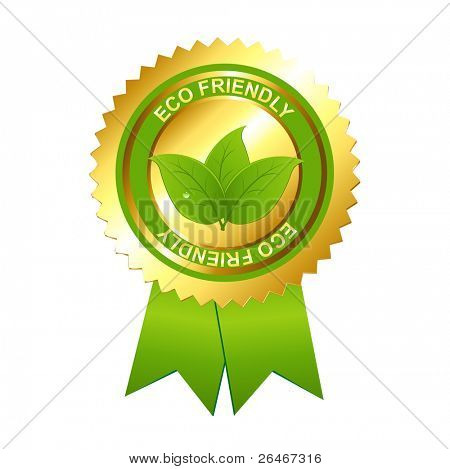 Eco Friendly Emblem, Isolated On White Background, Vector Illustration