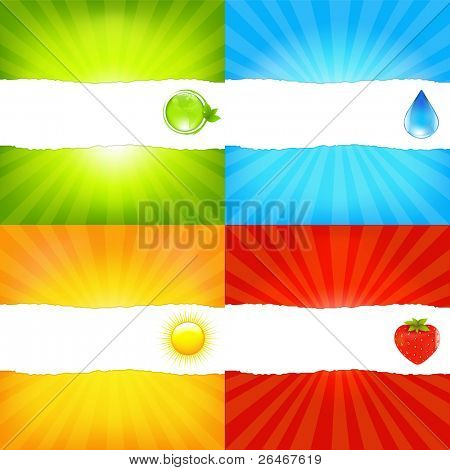 Sunburst Background Set With Paper And Beams, Vector Illustration