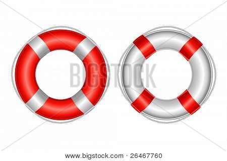 2 Life Buoy, Isolated On White Background, Vector Illustration