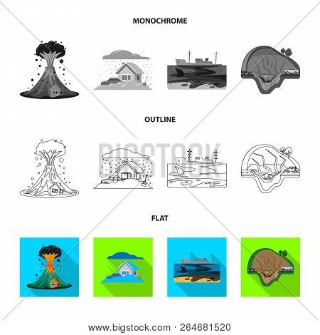 Vector Illustration Of Natural And Disaster Icon. Set Of Natural And Risk Stock Vector Illustration.