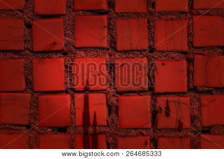 Mystical Red Texture Of Square Vintage Tile Close-up With Mysterious Stains Of Paint Grunge Backgrou