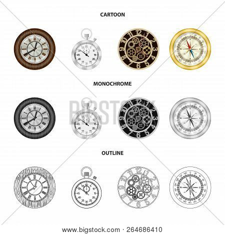 Vector Illustration Of Clock And Time Sign. Collection Of Clock And Circle Stock Symbol For Web.
