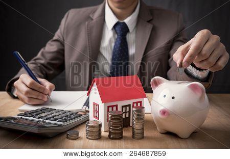 Businessman Agent Offer Sale Home. Concept Loan Marketing House Property.