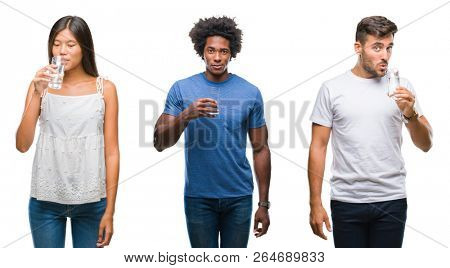 Collage of people drinking glass of water over isolated background with a confident expression on smart face thinking serious