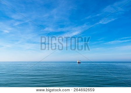 Ship On Shore Of The Baltic Sea In Wustrow, Germany.