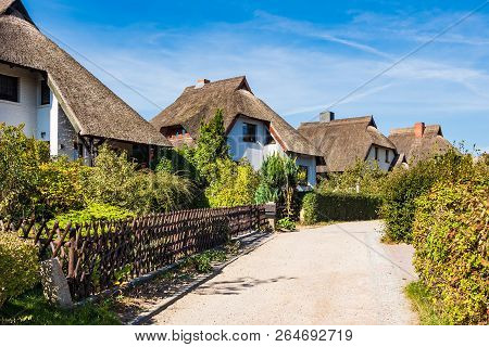 Thatched Houses With Blue Sky In Ahrenshoop, Germany.