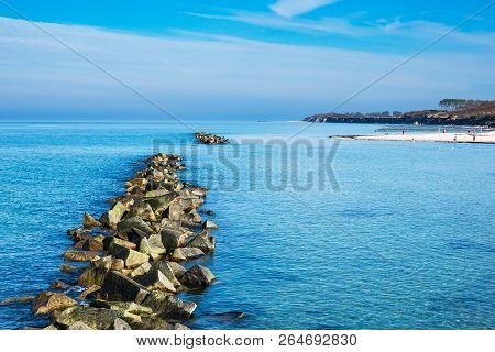 Baltic Sea Coast With Blue Sky In Wustrow, Germany.