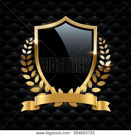 Black Glass Shield With Golden Frame, Golden Laurel Wreath And Golden Ribbon Isolated On Black Backg