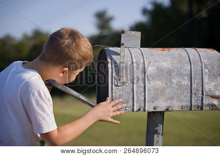A Cute Boy, Checking The Mail In An Open Mail Box. The Kid Is Waiting For The Letter, Checks The Cor