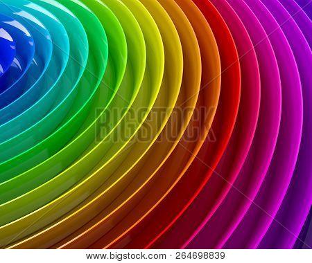 Rainbow Colorful Plastic Waves Background, 3d Illustration