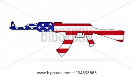Rifle With American Flag Painted On, Isolated On White Background 3d Illustration