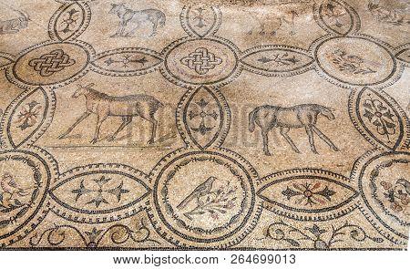 Aquileia,italy - September 15,2018 - View Of Mosaics In Basilica Of Santa Maria Assunta In Aquileia.