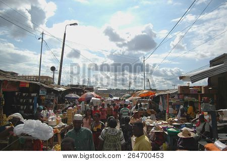 Kumasi, Ghana: 21st July 2016 - A Bustling Lane In A Market In The City Of Kumasi, Ghana