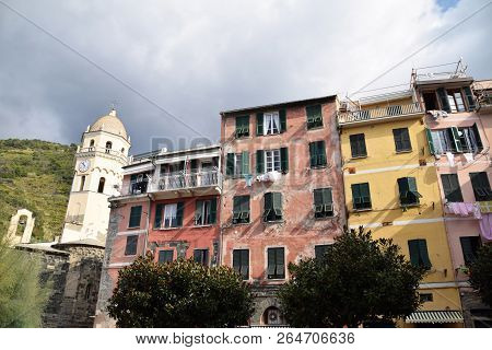 A View From The Town Square Of Vernazza In The Cinque Terre In Liguria - Italy