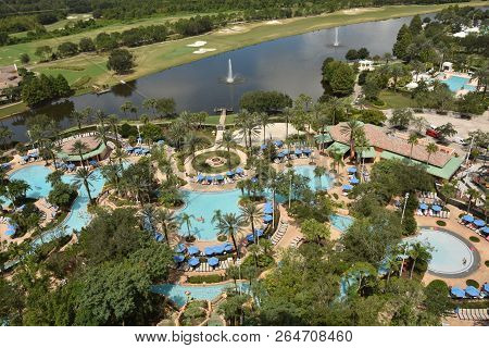 Tropical Resort Grounds In Oralndo, Florida Seen From Above