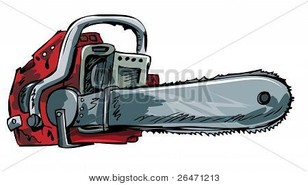Illustration of old chainsaw