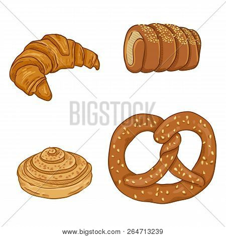 Vector Cartoon Set Of Fresh Baked Pastry Items. Desserts And Snacks.