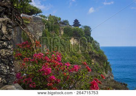 Beautiful Uluwatu Temple Perched On Top Of A Cliff In Bali, Indonesia