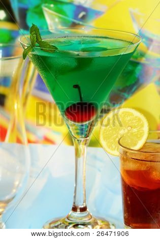 Summer recreational drink with cherry and lemon