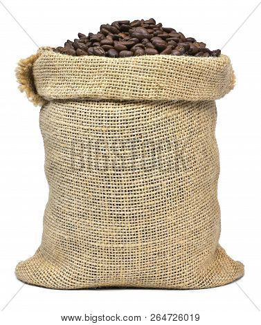 Roasted Coffee Beans Falling In A Burlap Sack. Sackcloth Bag With Coffee Beans, Isolated On White Ba