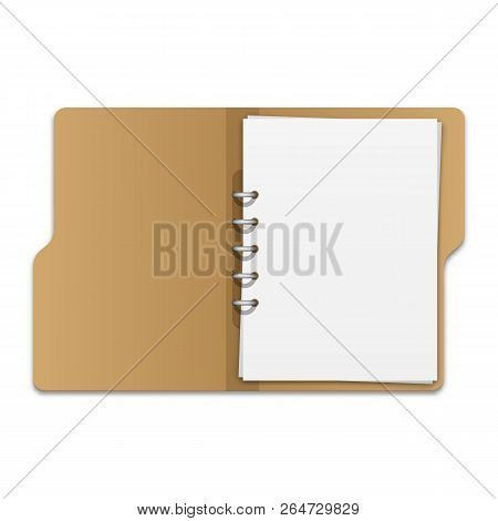Open File Folder With Documents. Blank Cardboard Ring Binder Folder With Stack Of Empty Paper Sheets