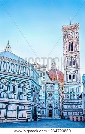 Famous Big Cupola Del Brunelleschi, Bell Tower (giotto's Campanile) And Cattedrale Di Santa Maria De