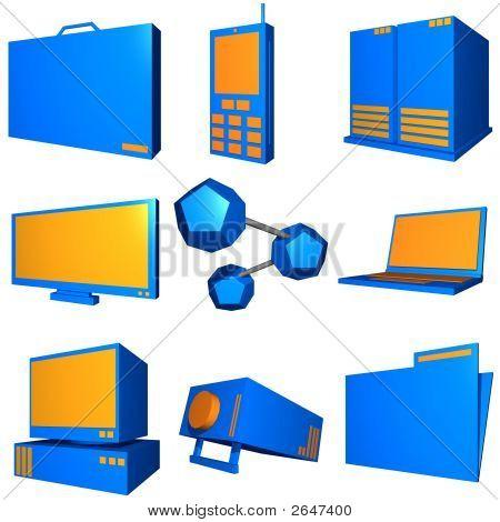 Information Technology Business Industry Icons Set - Orange Blue