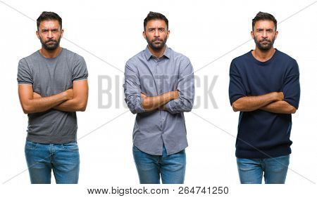 Collage of handsome young indian man over isolated background skeptic and nervous, disapproving expression on face with crossed arms. Negative person. poster