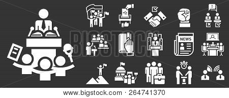 Political Meeting Icon Set. Simple Set Of Political Meeting Vector Icons For Web Design On Gray Back