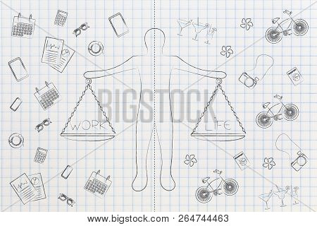 Personal Priorities Conceptual Illustration: Man With Dashed Line Dividing His Work And Life Balance