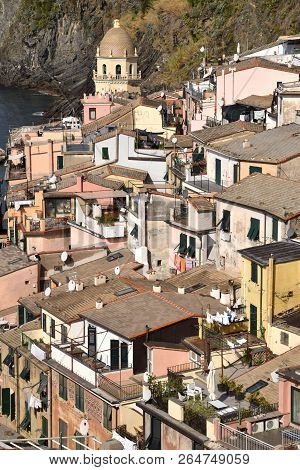 A View Of The Roofs Of The Houses Of Vernazza In The Cinque Terre In Liguria - Italy