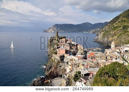 A View From Above Of The Village Of Vernazza In The Cinque Terre In Liguria - Italy