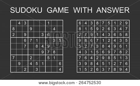 Sudoku Game With Answer. Vector Puzzle Game With Numbers For Kid