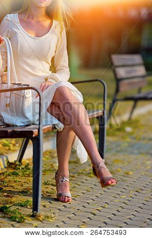 Fashion woman in autumn spring dress on city street. Cropped shot of body part female style of feminine fashionable girl model on bench fall outdoor. Color tone on shiny sunlight background.