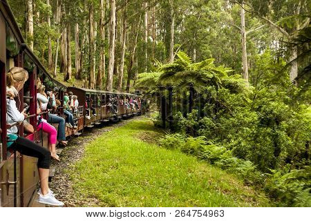 Melbourne, Australia - January 7, 2009: Puffing Billy Steam Train With Passengers. Historical Narrow