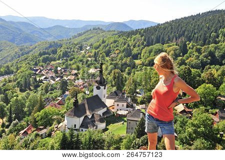 Girl Looking At Chapel In Mountains, Spania Dolina, Tatras, Slovakia