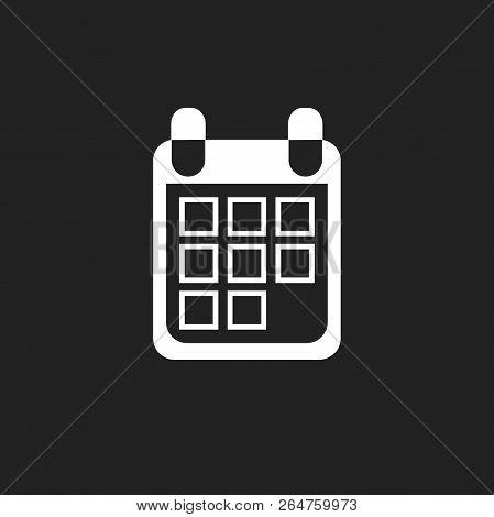 Calendar Icon On Black Background, Vector Illustration. Flat Sty