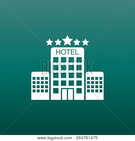 Hotel Icon On Green Background. Simple Flat Pictogram For Busine