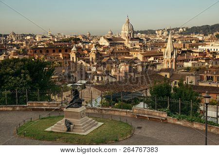 Rome city skyline with historical architectures viewed from Pincio Hill terrace. Italy.